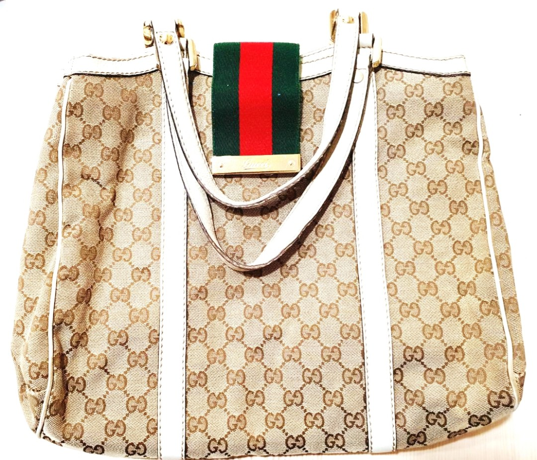 63fba81fd836 Gallery Source · Limited Edition Gucci Beige white Large Bag Luxury Bags &  Wallets