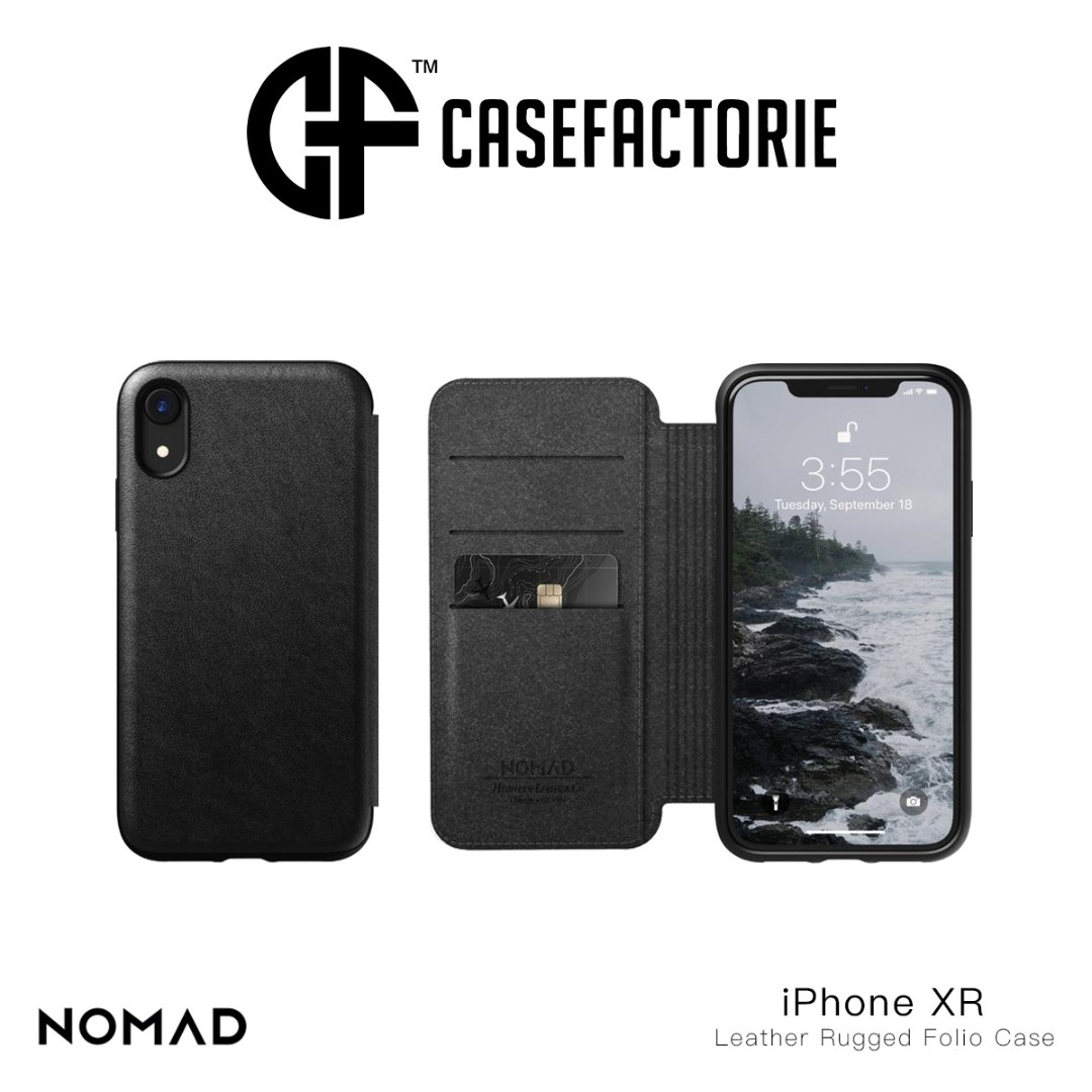 premium selection 91a0f 809ab Nomad Horween Leather Rugged Folio Flip Case for iPhone XR