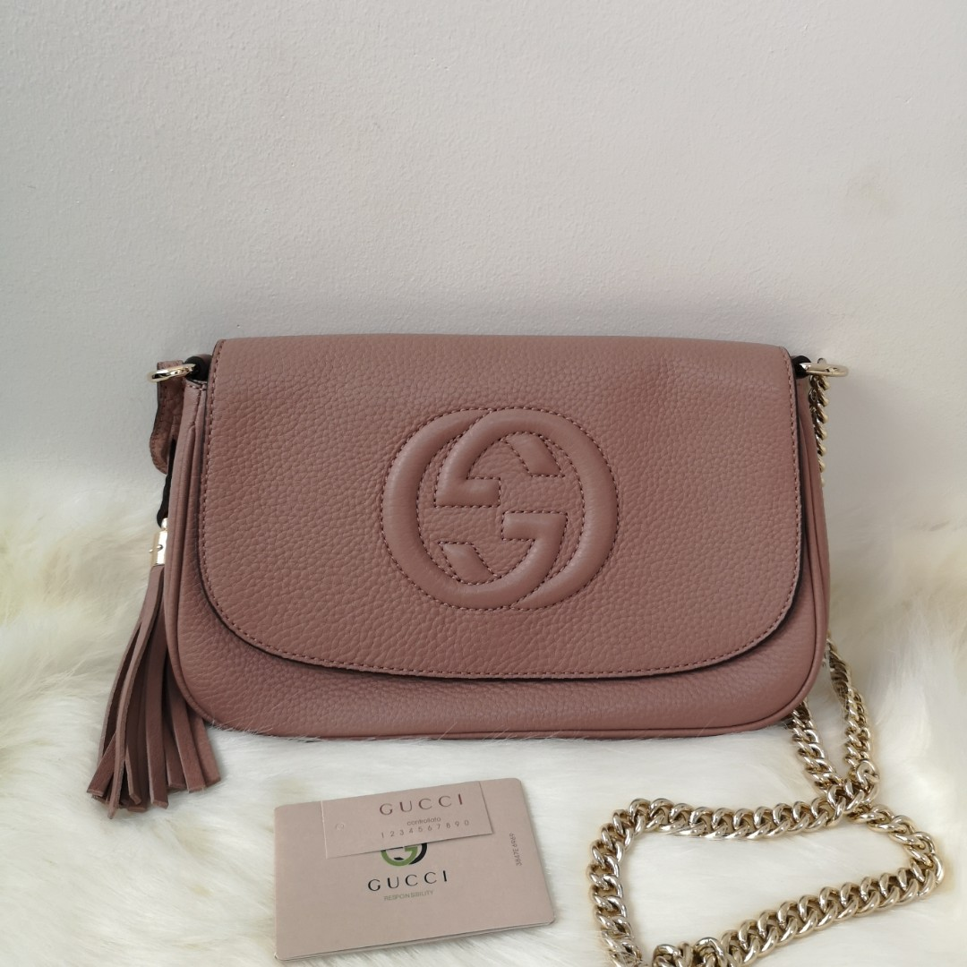 3f66d72d129 ON HAND  Authentic Gucci Soho Chain Strap Crossbody Bag Leather ...