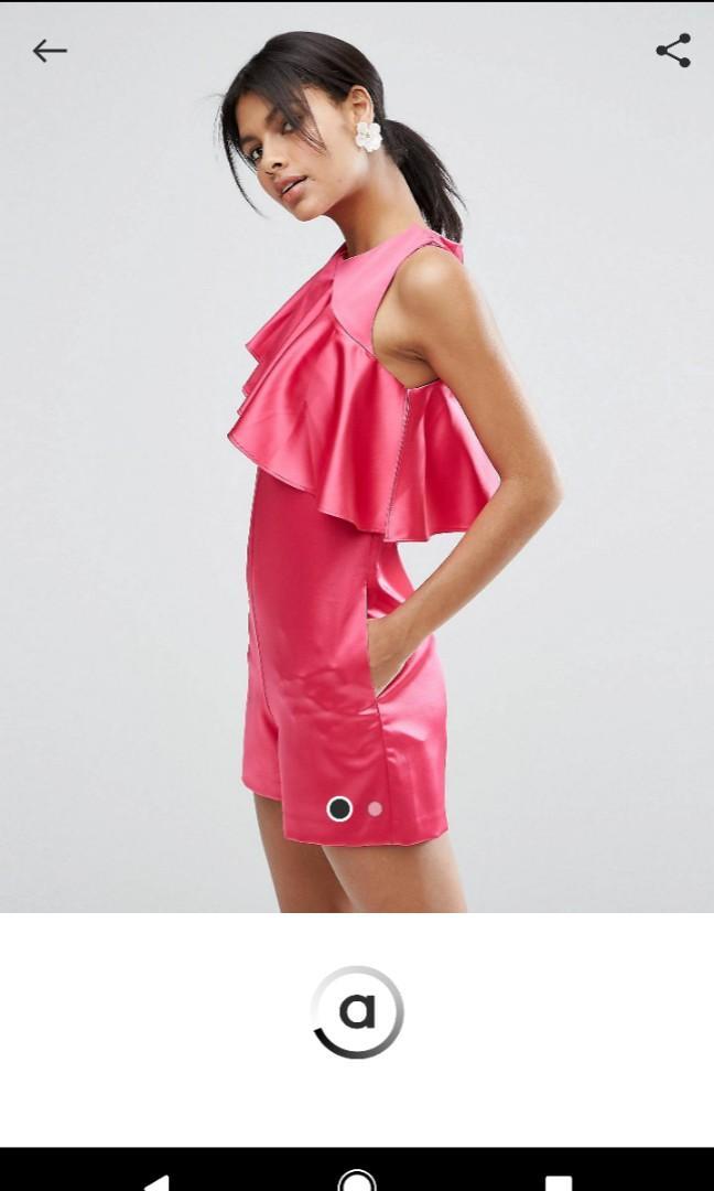 Pink Satin Ruffle Playsuit Romper AU6