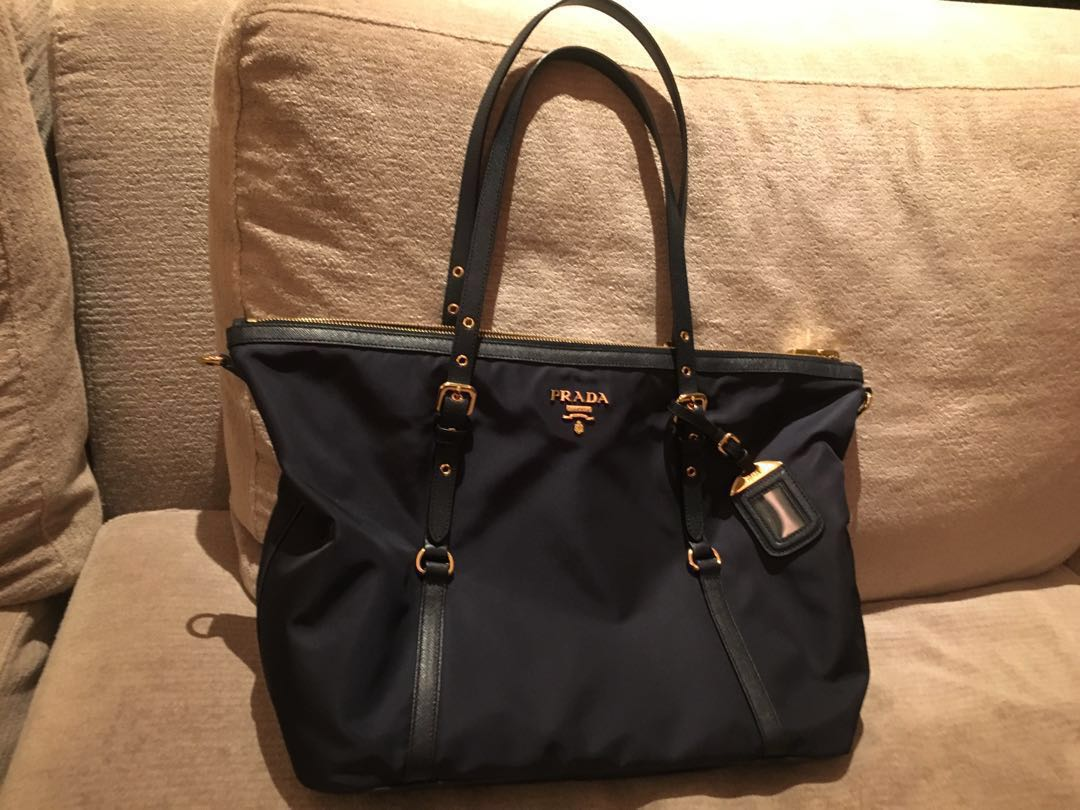 076d36f22edb Prada Tessuto Nylon Tote with Leather Trimming