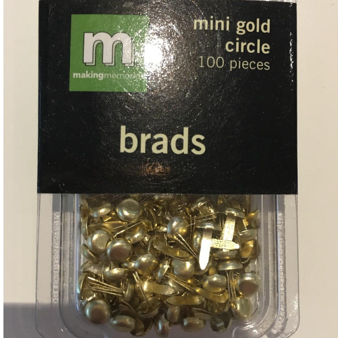 Scrapbooking Embellishments Making Memories Mini Gold Circle Brads 100 pieces Craft Paper Invitations
