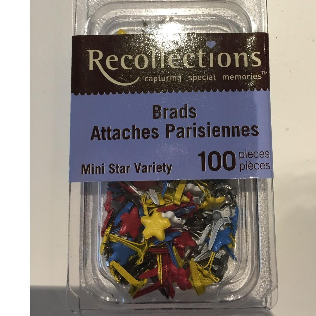 Scrapbooking Embellishments Recollections Mini Star Variety Brads 100 pieces Craft Paper Invitations