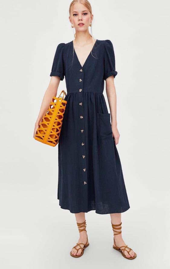 fea8ceb05c Zara TRF linen midi dress