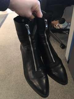 Size 8 Zara black leather boots