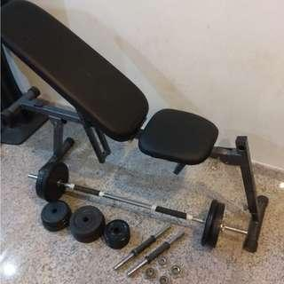 Incline Bench + Barbell + Dumbbells + Weights