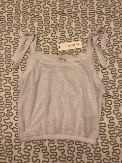 White Cropped Tie Top (BRAND NEW)