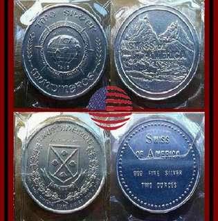 👉 USA. - 1 Pair, 2x 2 (4) Oz. Troy 999 Fine Silver Piedfort round bars