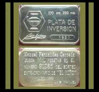 👉 SPAIN - 1x 100g Grams (3.21 Troy Oz) 999 Fine Silver Vintage bar
