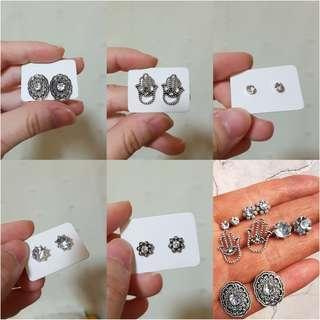 🚚 5 pairs/set Minimalistic Silver Diamonds Stud Earrings