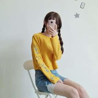 Yellow Flower Embroidery Long Sleeve Crop Top