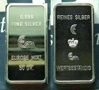 👉 EUROPE - 1x 50g Grams (1.6+ Troy Oz) 999 Fine Silver unique Ingot bar