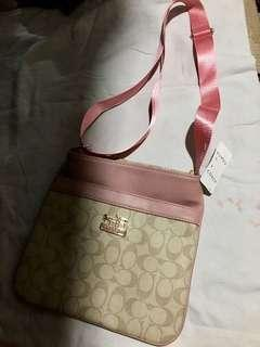 Coach Sling Bag Pink Brown