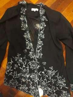 Black beaded kebaya Top