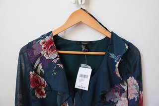 Brand New Floral Blouse With Tags