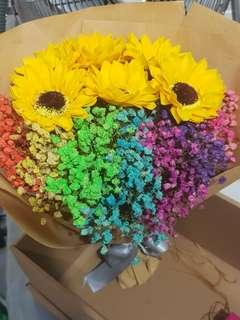Sunflower rainbow baby breaths bouquet