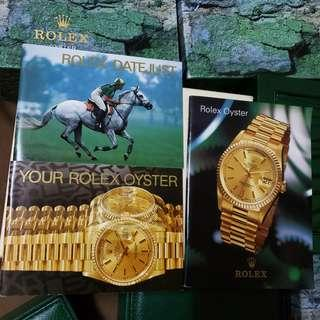 Rolex oyster datejust booklets and accessories