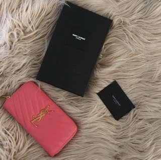 YSL authentic coral pink wallet