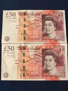 BOE £50 ~ Prefix AA ~ 2 pcs