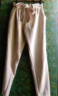 Beige Tie Front Pants
