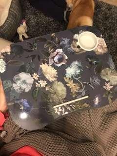 Floral laptop desk and cup holder