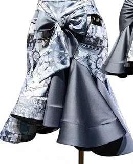 Grey Latin Dance skirt