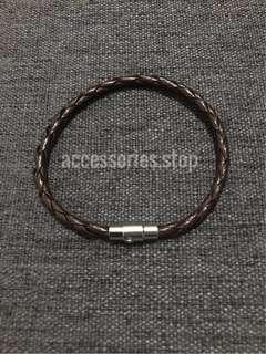 🚚 🔥INSTOCK | Single Braided Leather Bracelet (Brown)