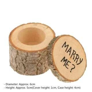 Wooden Jewelry Tube Ring Engagement Gift Wedding Art
