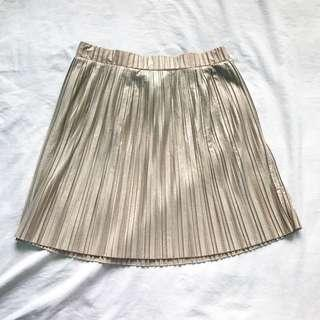 Mango gold pleated skirt