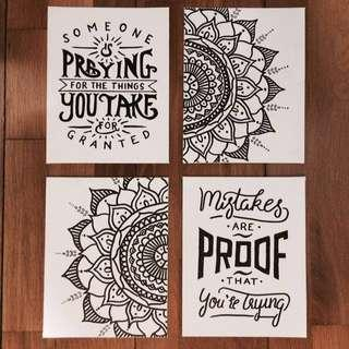 (BUY 3 FREE ONE) Hand-Drawn Quote Wall Decór