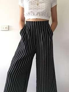 Wide leg striped culottes