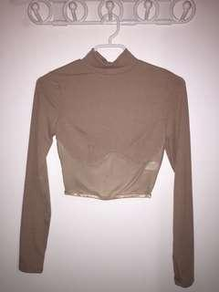 Long Sleeve Crop Top - Nude