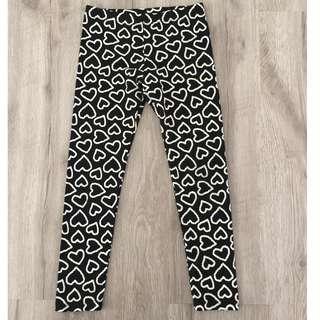 Black & White Heart Leggings