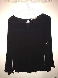 Flare Long Sleeve Top - Black
