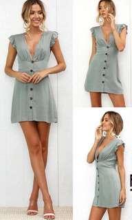 po/ Mini olive summer button dress stretchable back