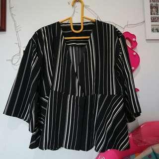 Blouse Stripe Black&White