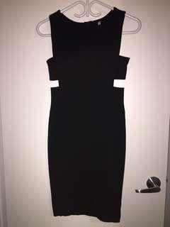 Rib cut-out Dress - Black