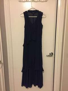 Sleeveless Long Dress - Navy