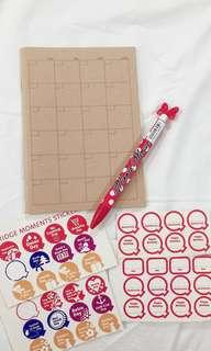 BN Muji Monthly Planner, Disneyland Minnie Mouse Pen & FREE Stickers