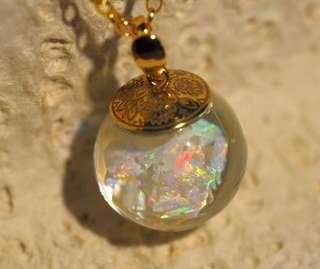 Floating White Opal necklace 18""