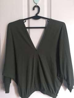 Army Green V-neck top