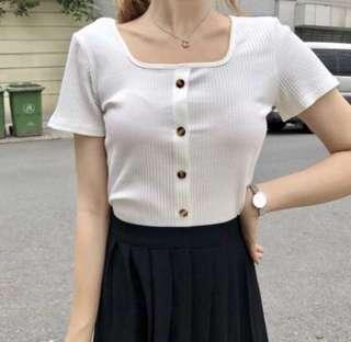 INSTOCK White button ribbed top