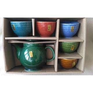 青田燒多彩結晶釉 茶壺茶碗6件組