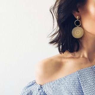 [NEW] Korean Round Circle Casual Workwear Beach Earring Jewelry Accessories Women Earrings Gift