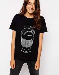 ASOS petite Love you a latte black t shirt