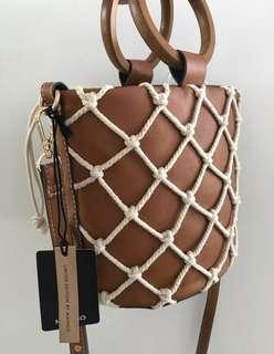 *New w tag* Mango bucket bag brown leather