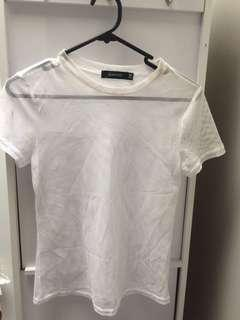 glassons white mesh tee