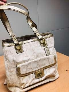 Original COACH Leather Trim Handbag bag