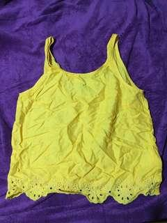 H&M Mustard Lace Top