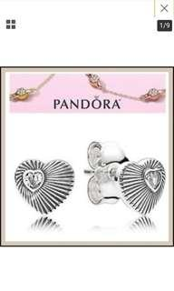 Pandora LIMITED EDITION silver vintage heart fans stud earrings with dustbag